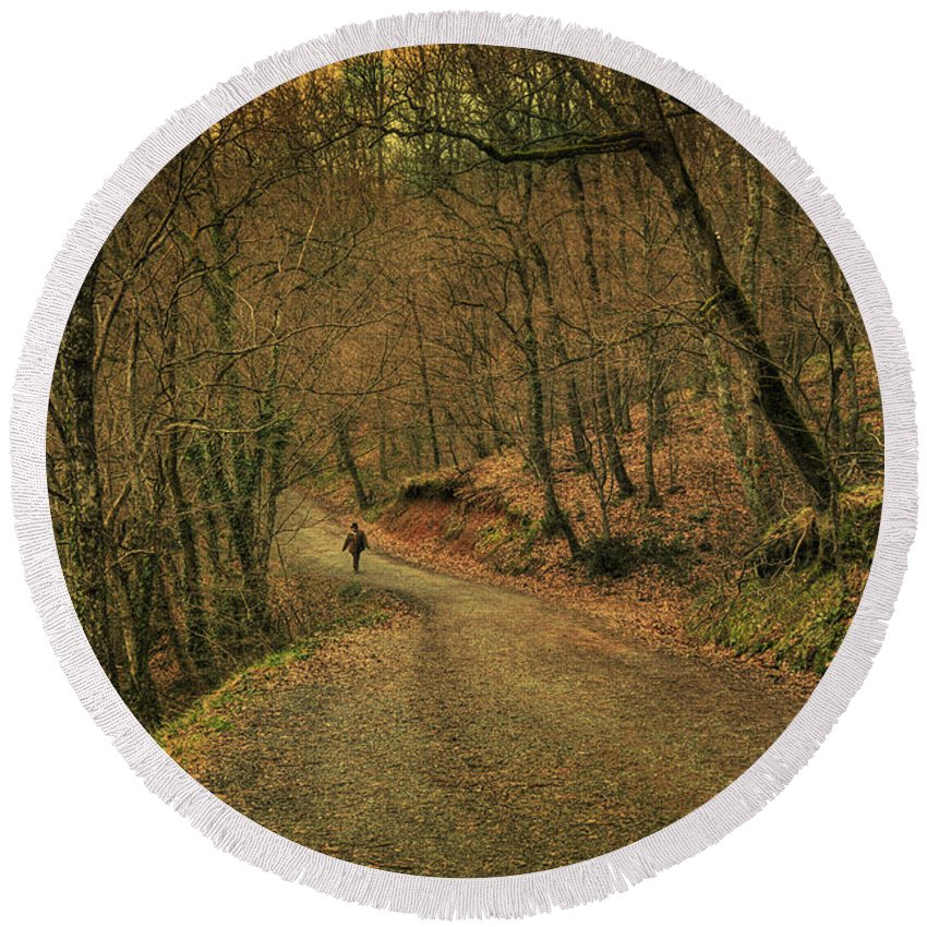 Woods Round Beach Towel featuring the photograph Path by Zapista