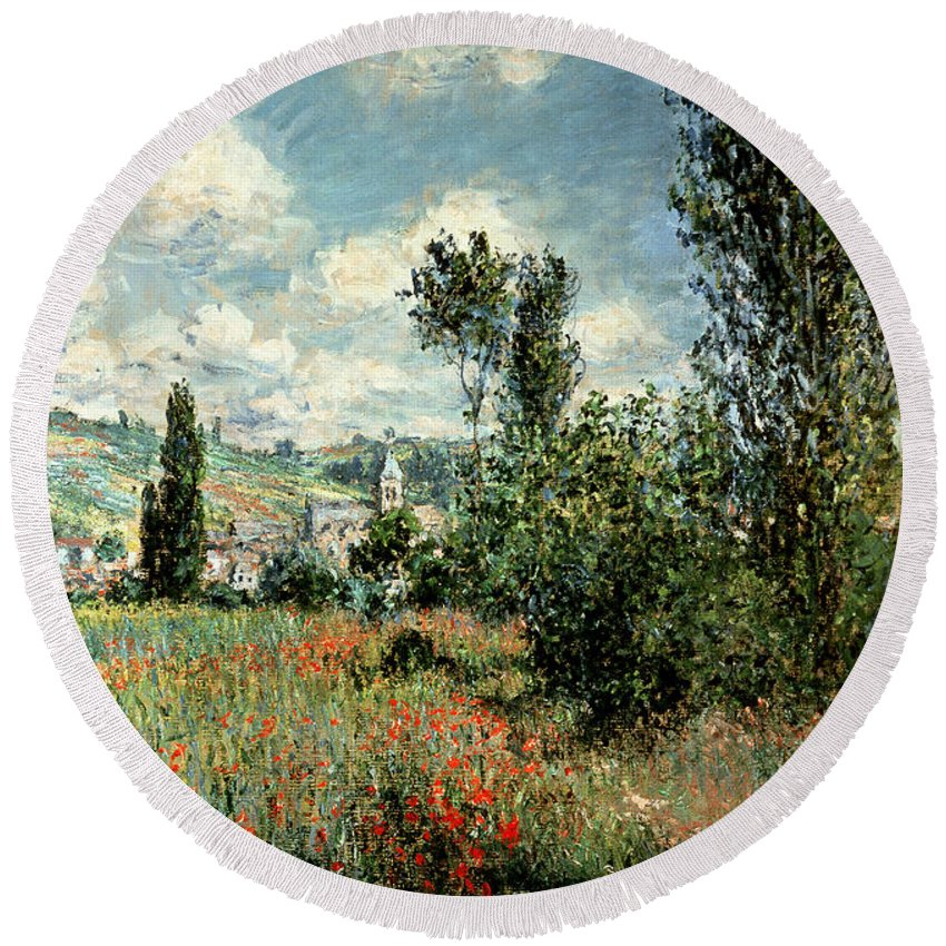 Path Round Beach Towel featuring the painting Path through the Poppies by Claude Monet