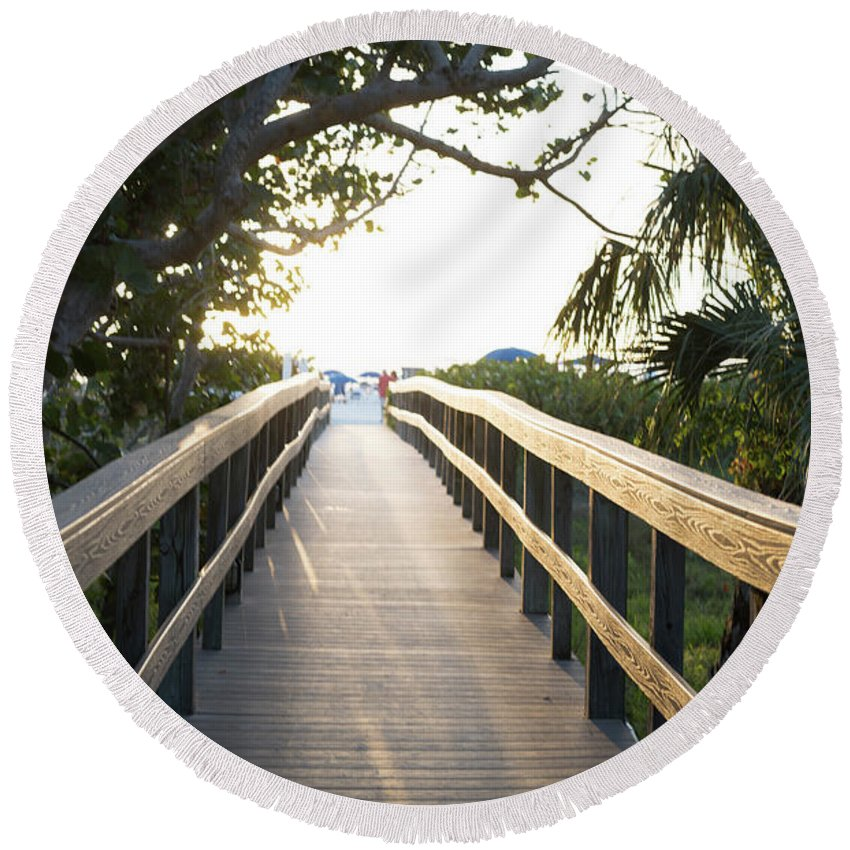 Florida Round Beach Towel featuring the digital art Path To Marco Island Beach by Susan Stone
