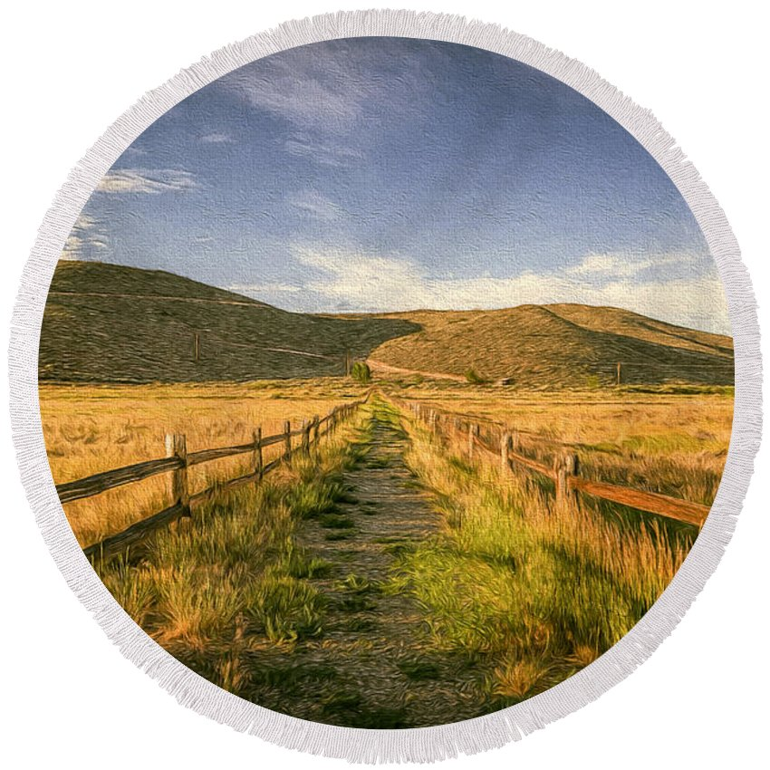 Landscape Round Beach Towel featuring the photograph Path To Nowhere by Maria Coulson