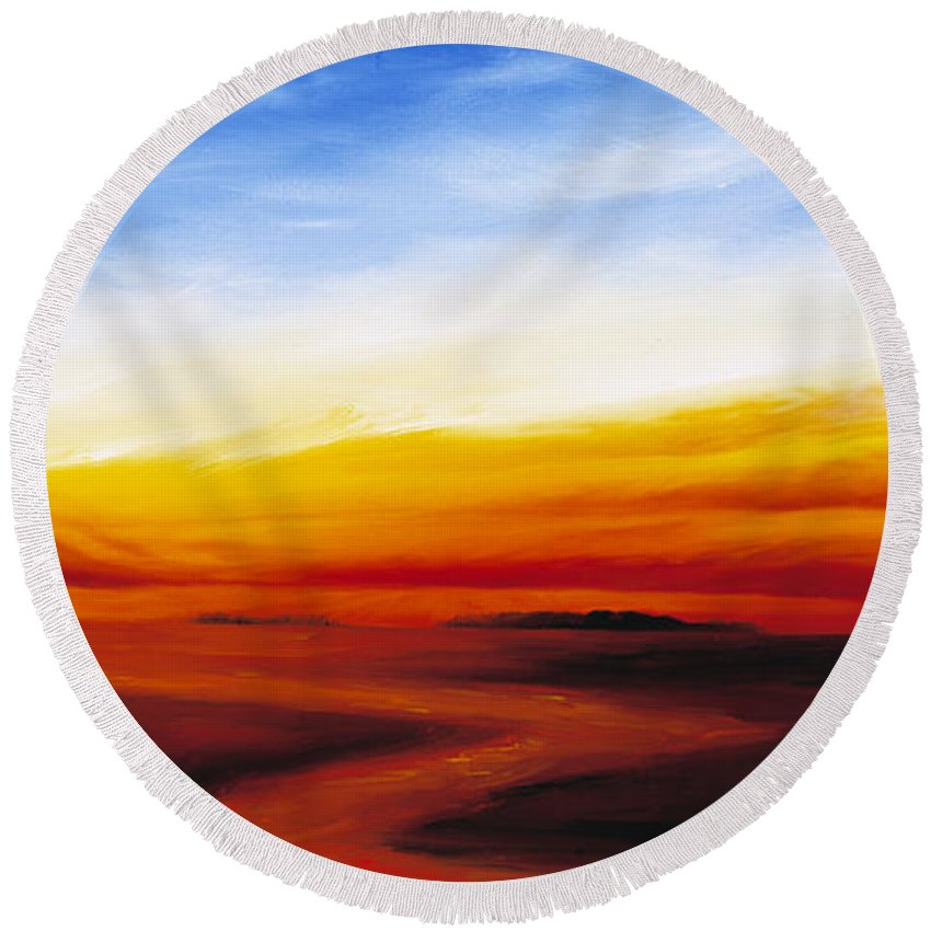 Sunrise Round Beach Towel featuring the painting Path To Redemption by James Christopher Hill