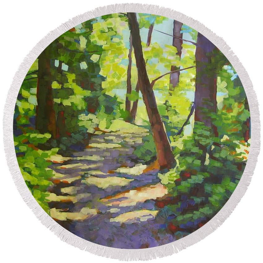 Landscape Round Beach Towel featuring the painting Path To The Lake by Mary McInnis