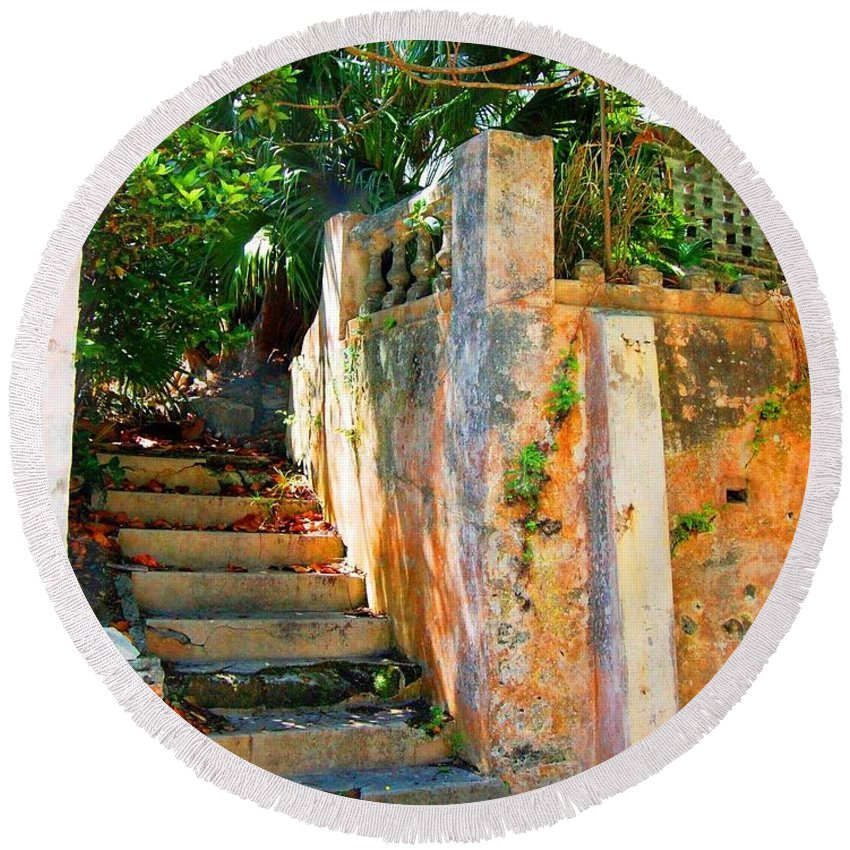 Steps Round Beach Towel featuring the photograph Pathway by Debbi Granruth