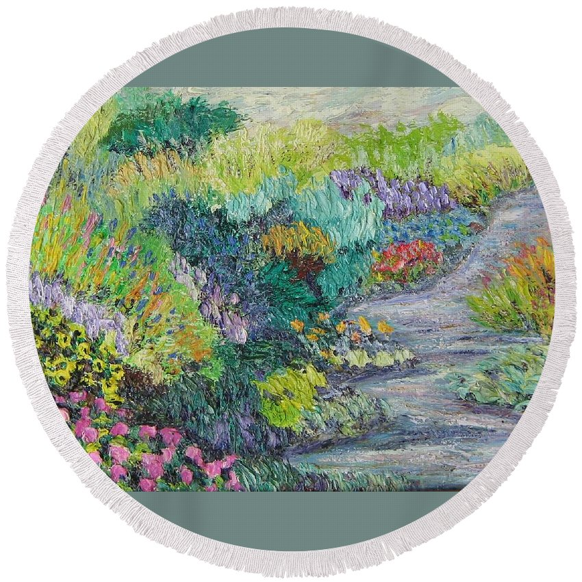 Flowers Round Beach Towel featuring the painting Pathway Of Flowers by Richard Nowak
