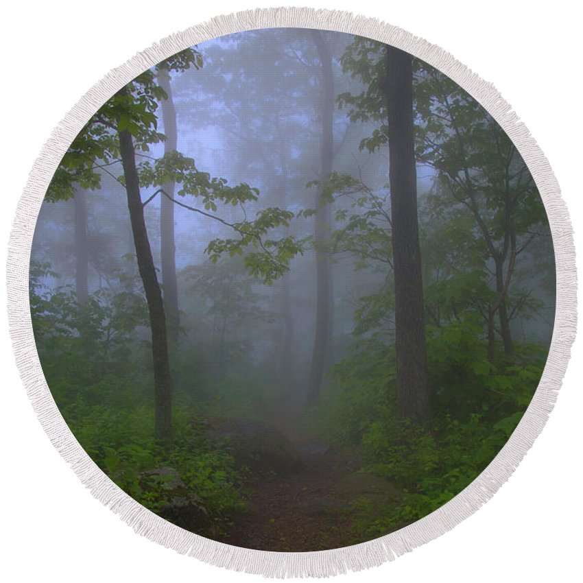 Landscape Round Beach Towel featuring the photograph Pathway Through The Fog by Anthony Zeljeznjak