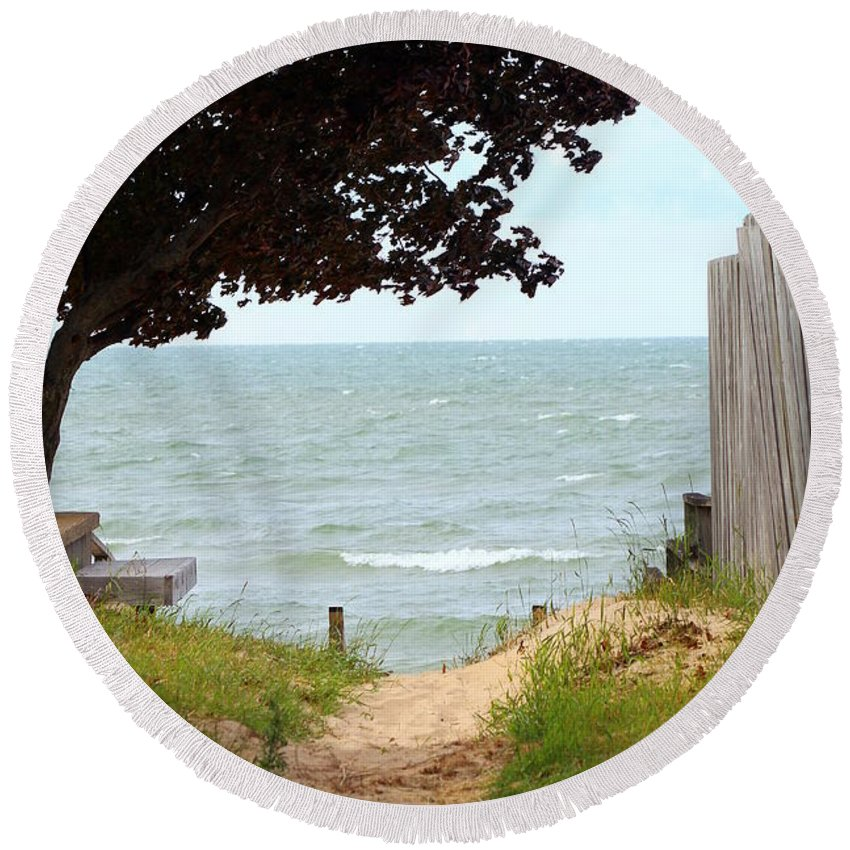 Path Round Beach Towel featuring the photograph Pathway To The Beach by Anita Hiltz
