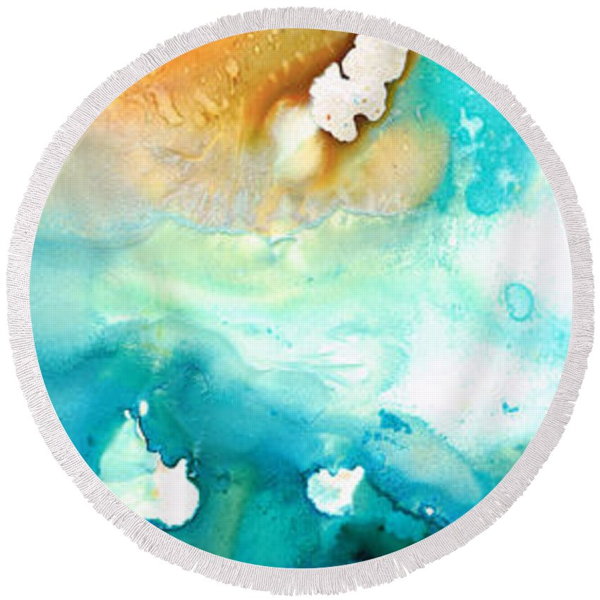 Abstract Art Round Beach Towel featuring the painting Pathway To Zen by Sharon Cummings