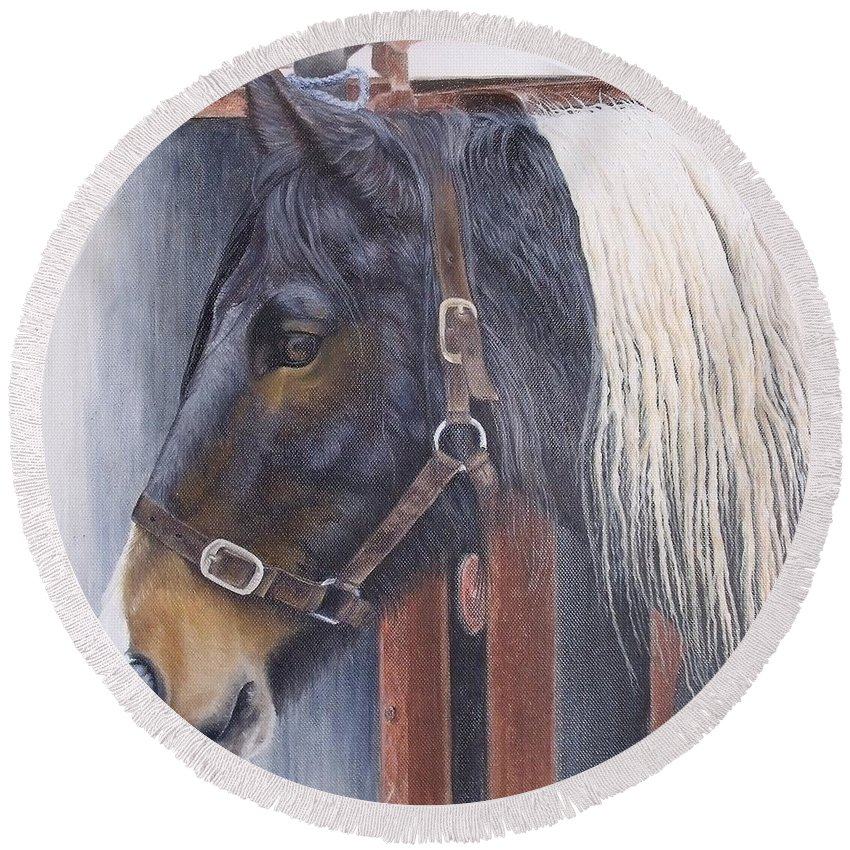 Portrait Round Beach Towel featuring the painting Patient Mare- Glin Fair by Pauline Sharp