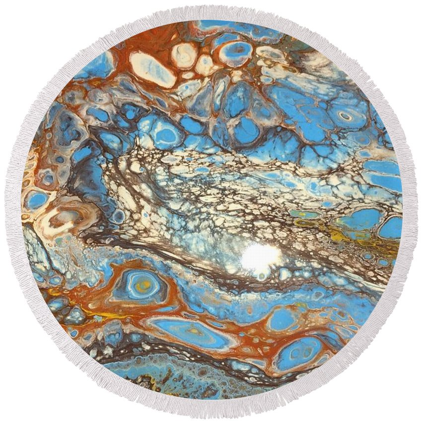 Acrylic Round Beach Towel featuring the painting Patina Vanes by Shannon Sloan