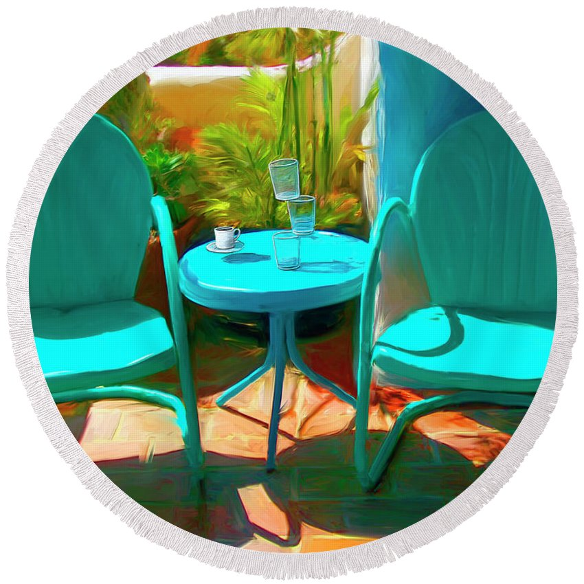 Catalina Round Beach Towel featuring the digital art Patio Antics by Snake Jagger