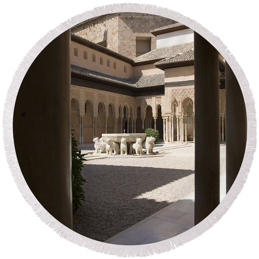 Patio Round Beach Towel featuring the photograph Patio De Los Leones Nasrid Palaces Alhambra Granada by Mal Bray