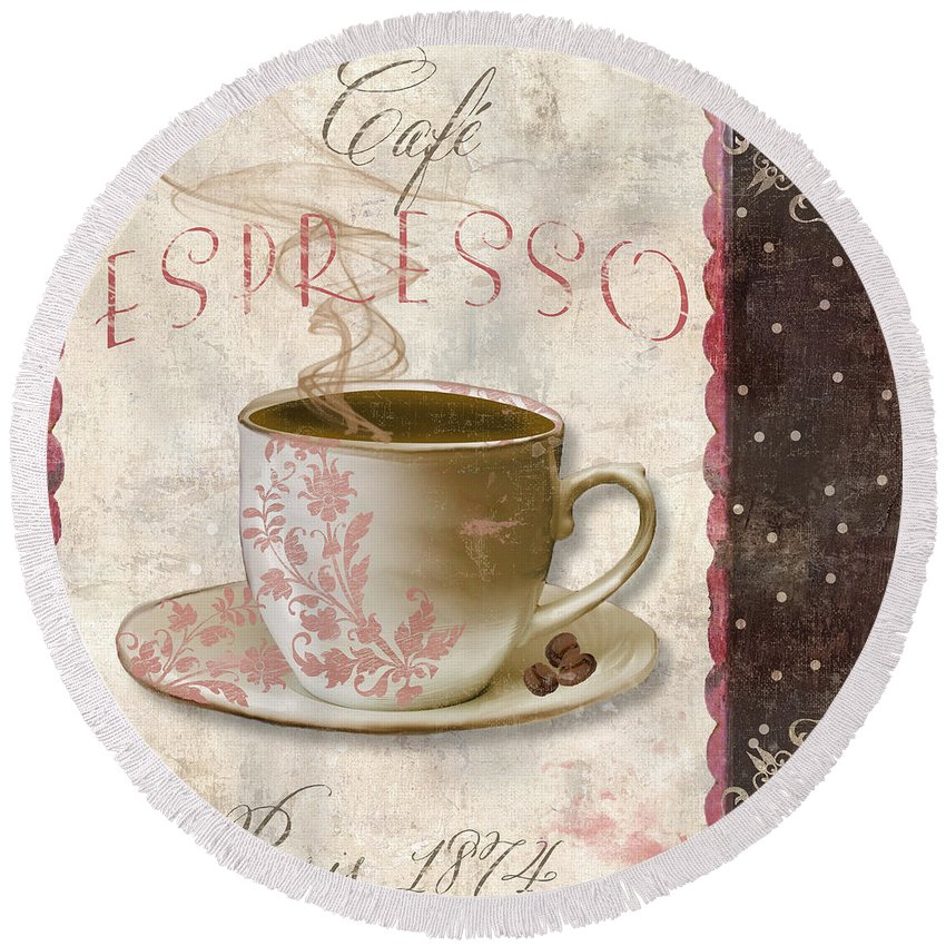 Chocolate Cake Round Beach Towel featuring the painting Patisserie Cafe Espresso by Mindy Sommers