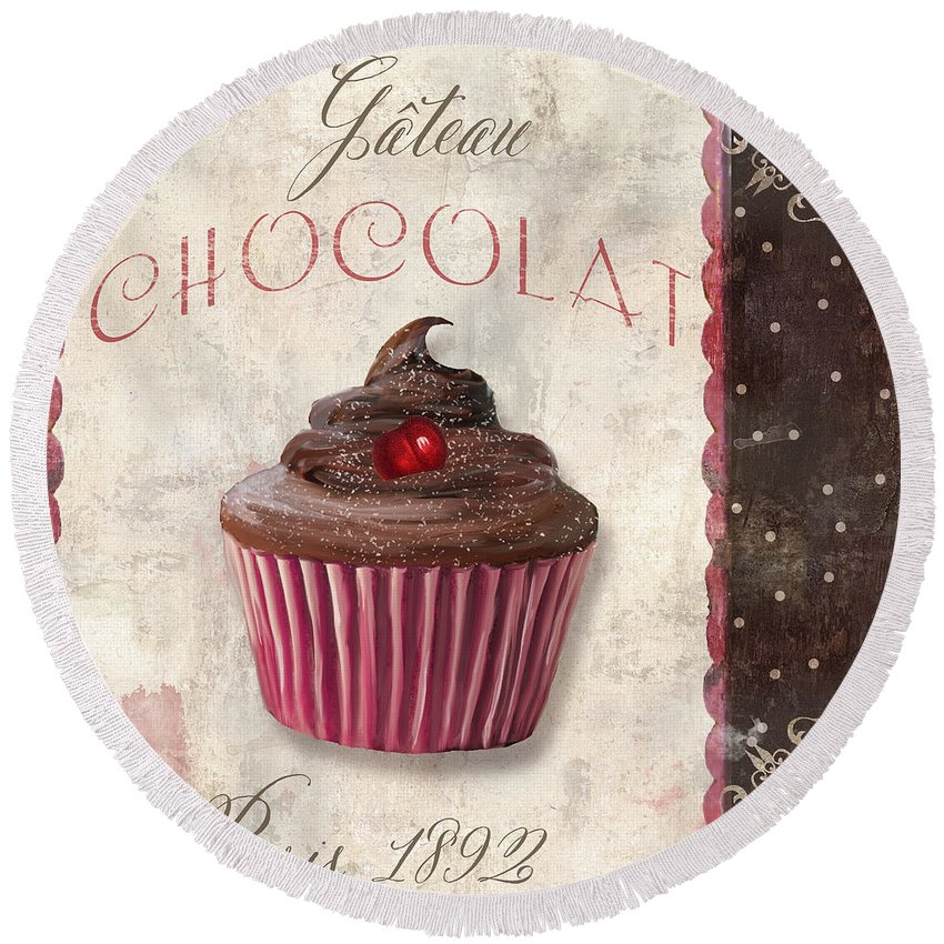 Cupcake Round Beach Towel featuring the painting Patisserie Chocolate Cupcake by Mindy Sommers