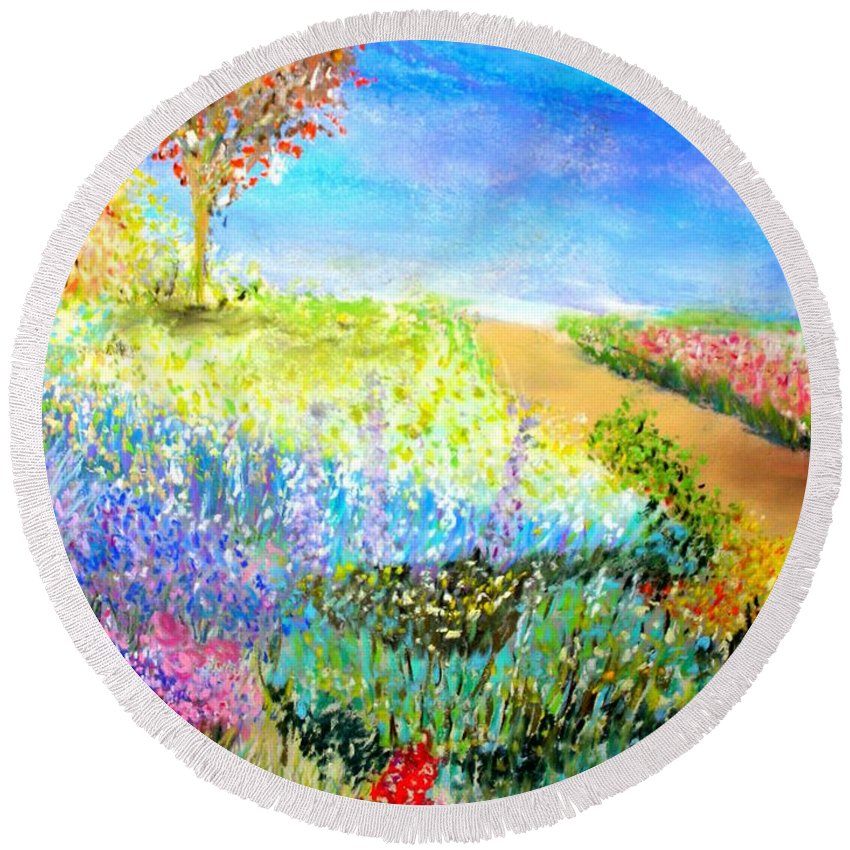 Landscape Round Beach Towel featuring the print Patricia's Pathway by Melinda Etzold