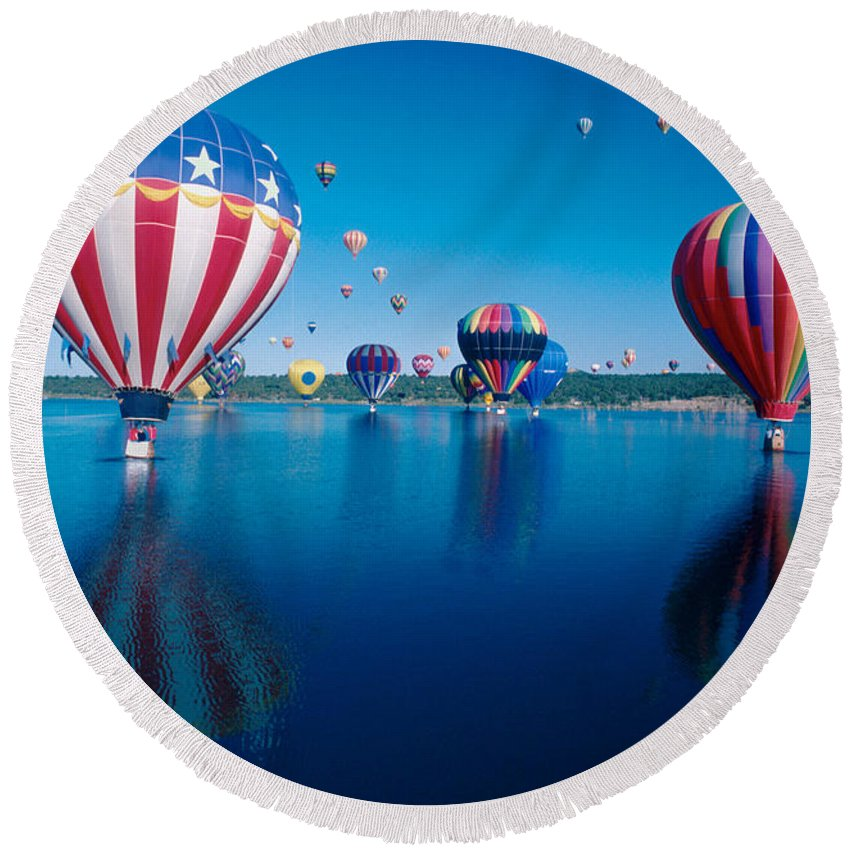 Hot Air Balloons Round Beach Towel featuring the photograph Patriotic Hot Air Balloon by Jerry McElroy