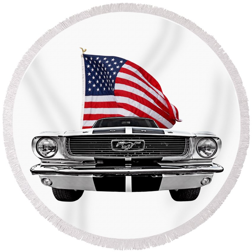 Ford Mustang Round Beach Towel featuring the photograph Patriotic Mustang On White by Gill Billington