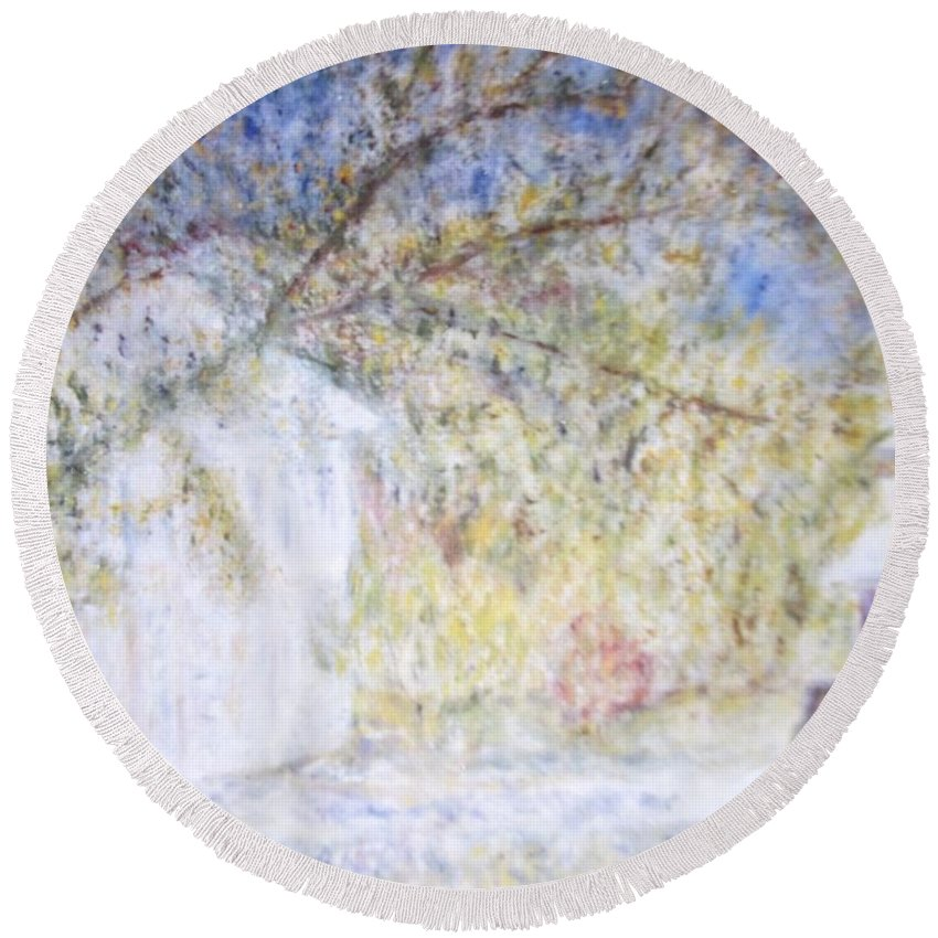 Impressionism Round Beach Towel featuring the painting A Neighbor's House In Chicago by Glenda Crigger