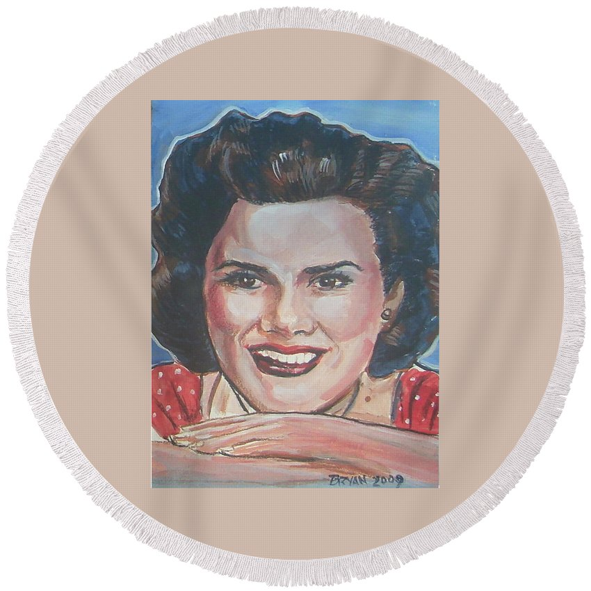 Patsy Cline Round Beach Towel featuring the painting Patsy Cline by Bryan Bustard