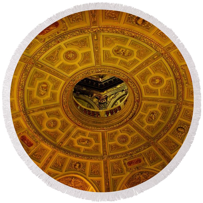 Ceiling Round Beach Towel featuring the photograph Pattern by Ian MacDonald