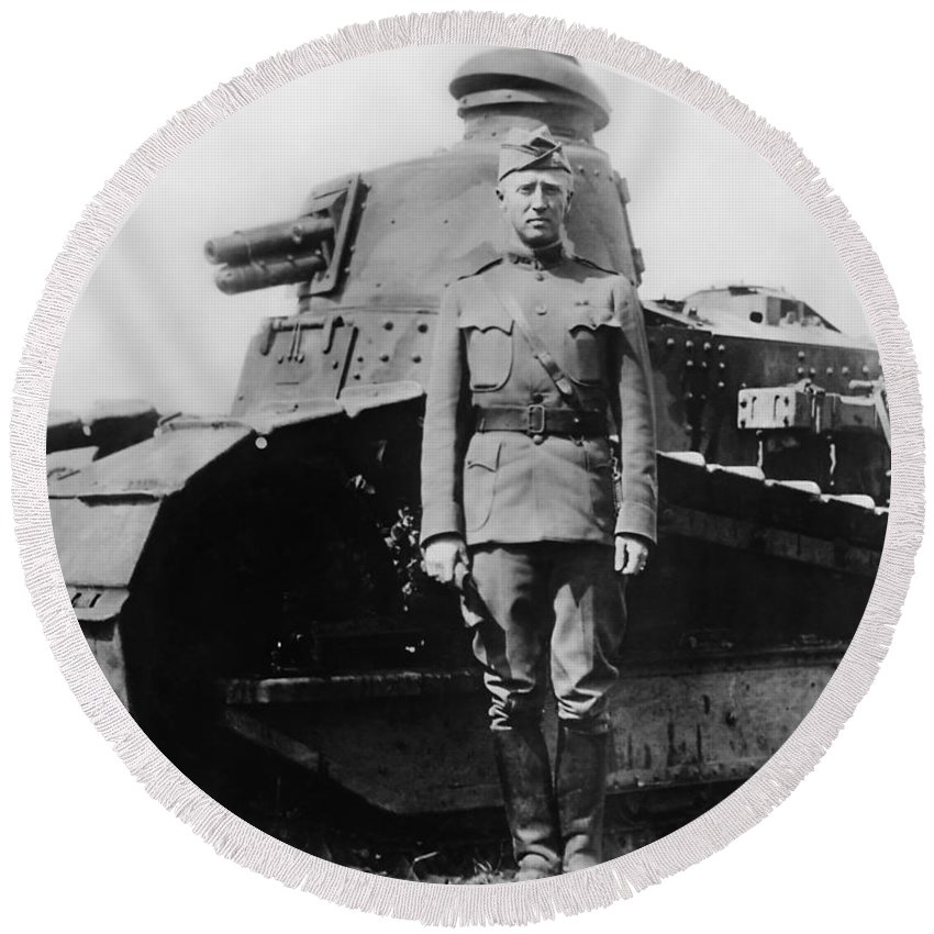 George Patton Round Beach Towel featuring the photograph Patton Beside a Renault Tank - WWI by War Is Hell Store