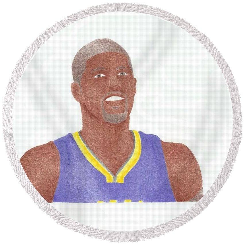 Basketball Round Beach Towel featuring the drawing Paul George by Toni Jaso