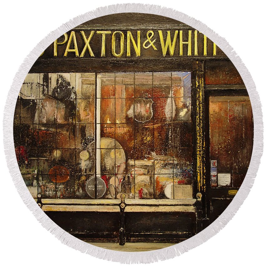 Paxton Round Beach Towel featuring the painting Paxton Whitfield .london by Tomas Castano