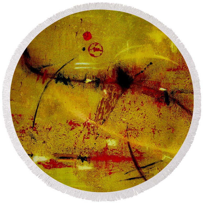 Abstract Round Beach Towel featuring the painting Pay More Careful Attention by Ruth Palmer