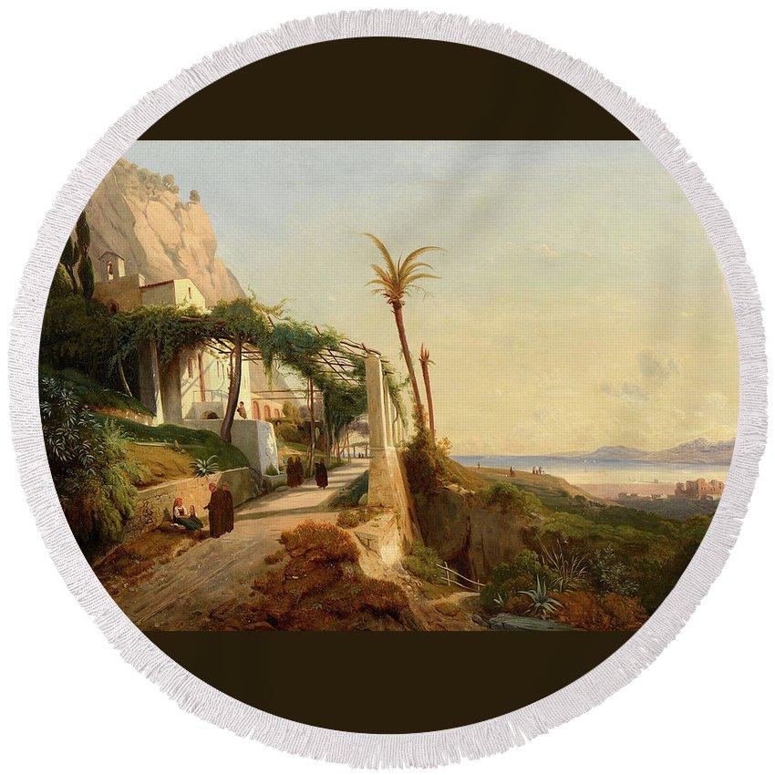 Auguste Lapito (1803-1874) Paysage De La C�te Amalfitaine Avec Des Moines Toile Rentoil�e Round Beach Towel featuring the painting Paysage De La Cte Amalfitaine Avec Des by MotionAge Designs