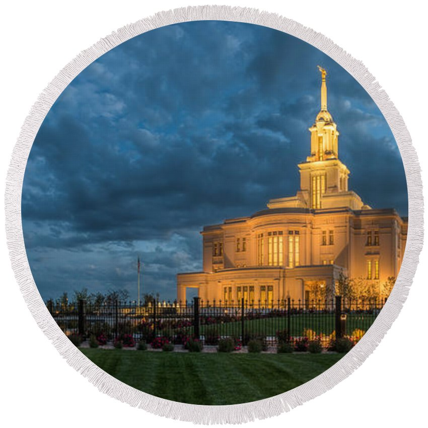 Payon Round Beach Towel featuring the photograph Payson Temple Panorama by Dustin LeFevre