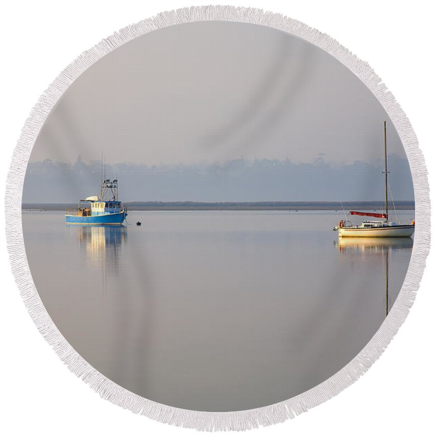 Tasmania Round Beach Towel featuring the photograph Peace At Anchor by Mike Dawson