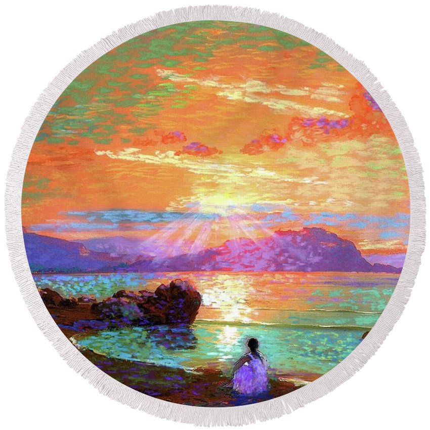 Hawaiian Sunset Round Beach Towels