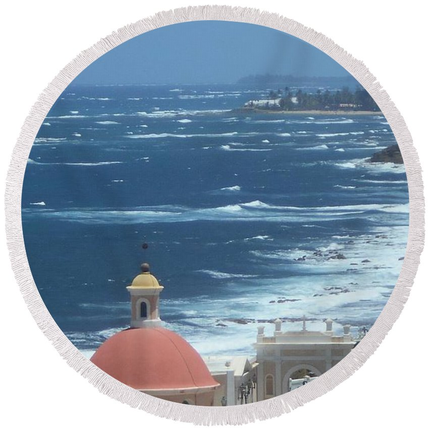 Caribbean Round Beach Towel featuring the photograph Peace By The Sea by Rauno Joks