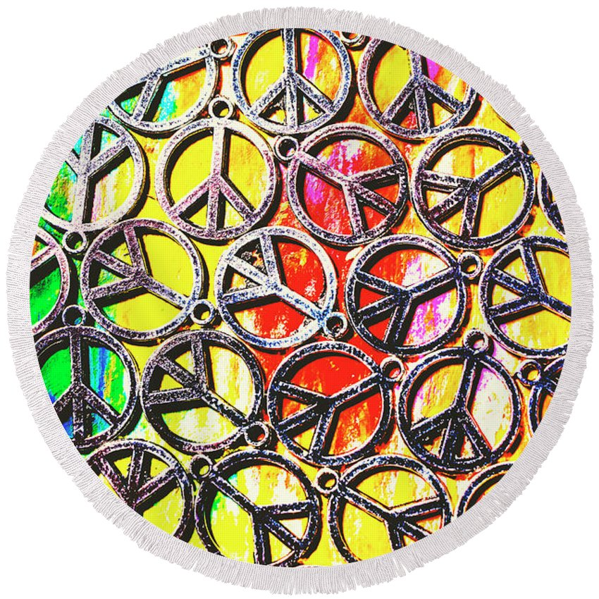 Peace Round Beach Towel featuring the photograph Peace In All Colours by Jorgo Photography - Wall Art Gallery