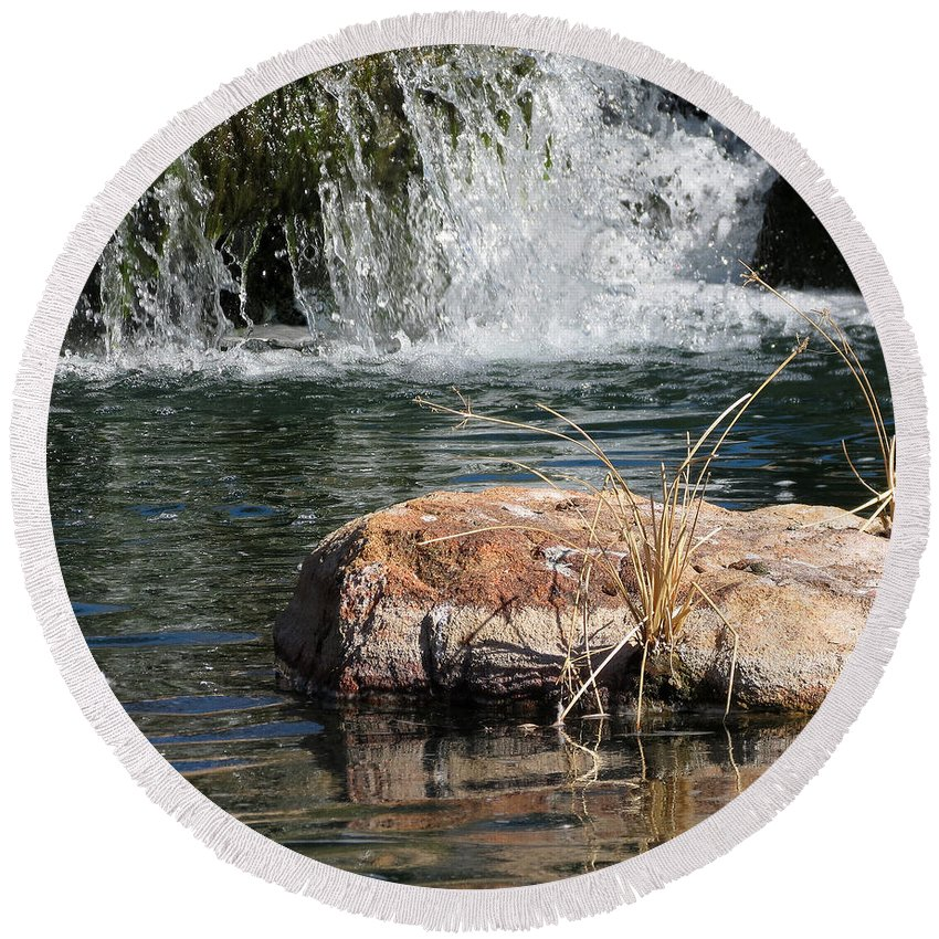 Nature Round Beach Towel featuring the photograph Peace In The Park by Laurel Powell