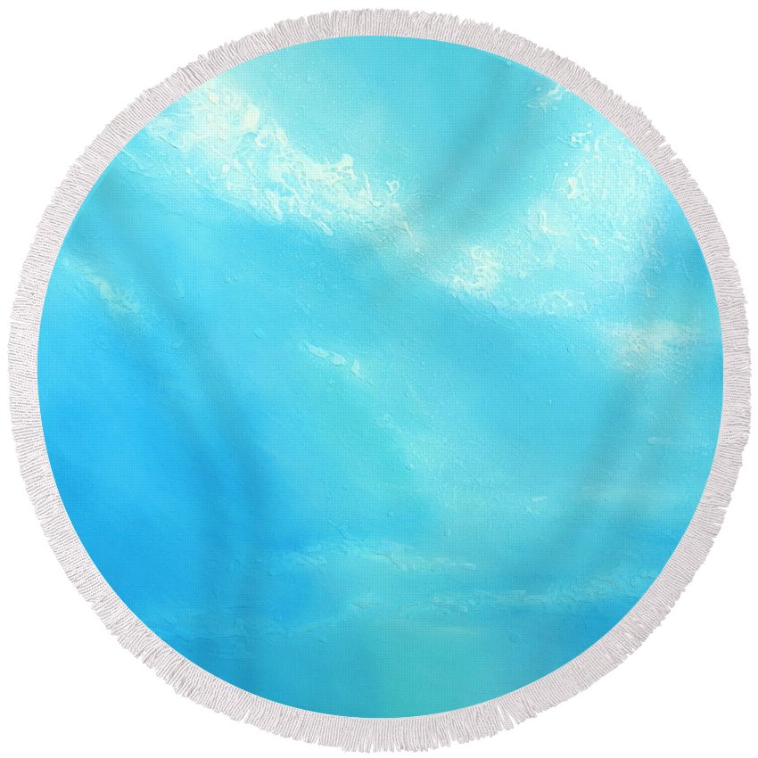 Blue Round Beach Towel featuring the painting Peace by Jaison Cianelli