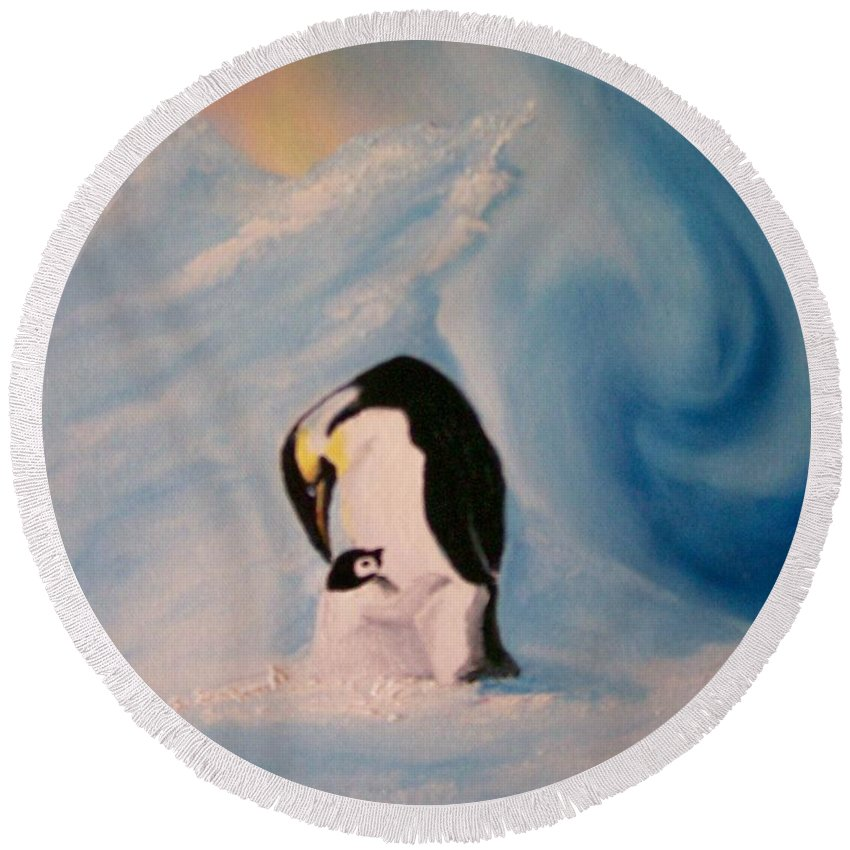Penguin Round Beach Towel featuring the painting Peace by Leo Gordon
