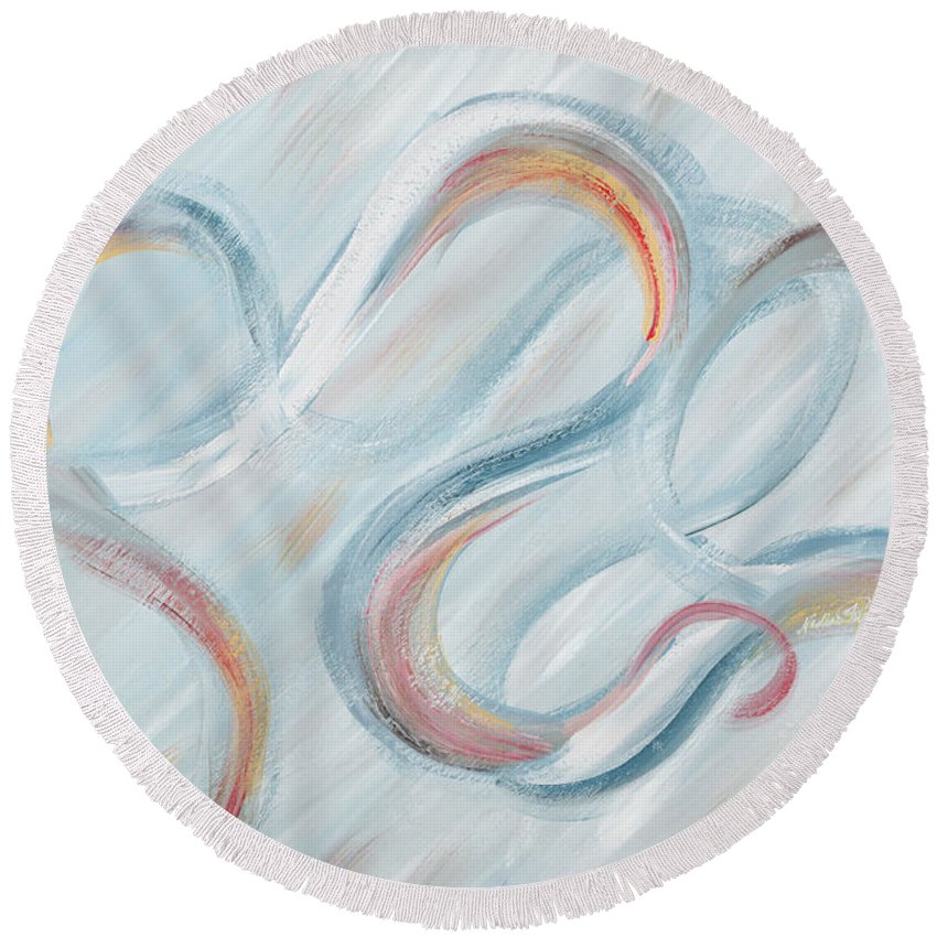Peace Round Beach Towel featuring the painting Peace by Nadine Rippelmeyer