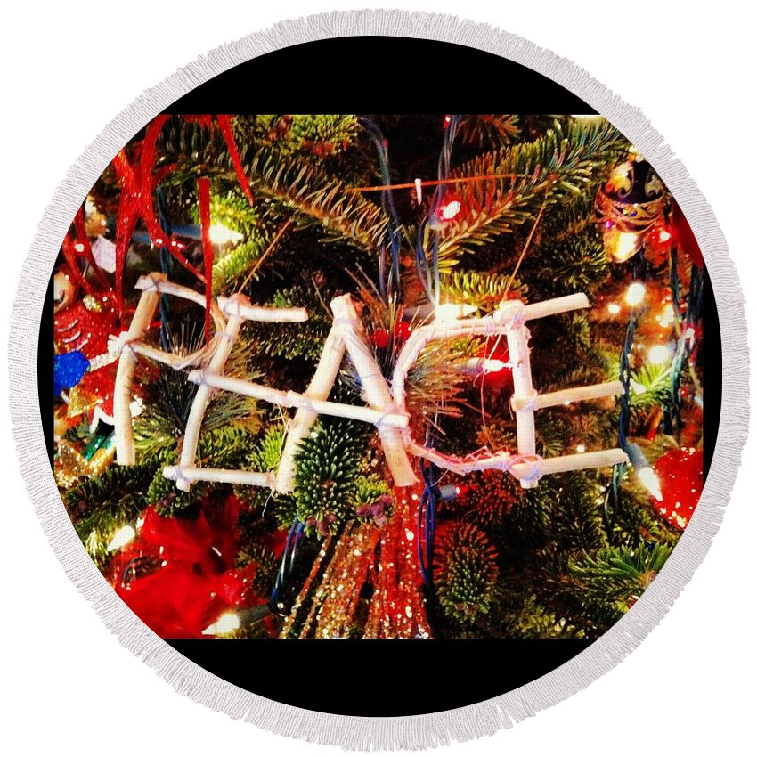Peace Round Beach Towel featuring the photograph Peace Ornament by Artie Rawls