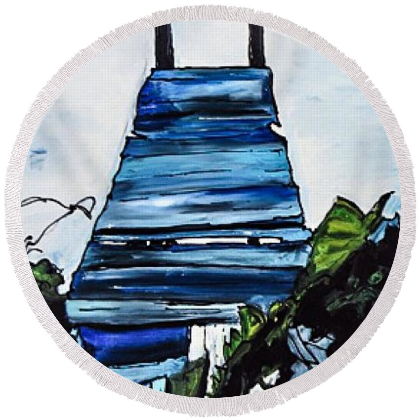 Water Round Beach Towel featuring the painting Peace Pier by Paula Baker