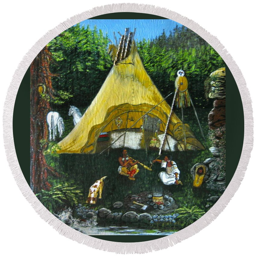American Indians Round Beach Towel featuring the painting Peace Smoke At Sundown by V Boge