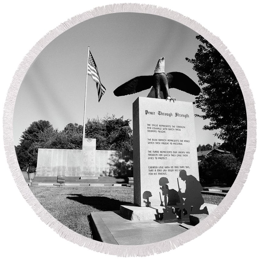 120 Film Round Beach Towel featuring the photograph Peace Through Strength - Veterans War Memorial by Timothy Wildey