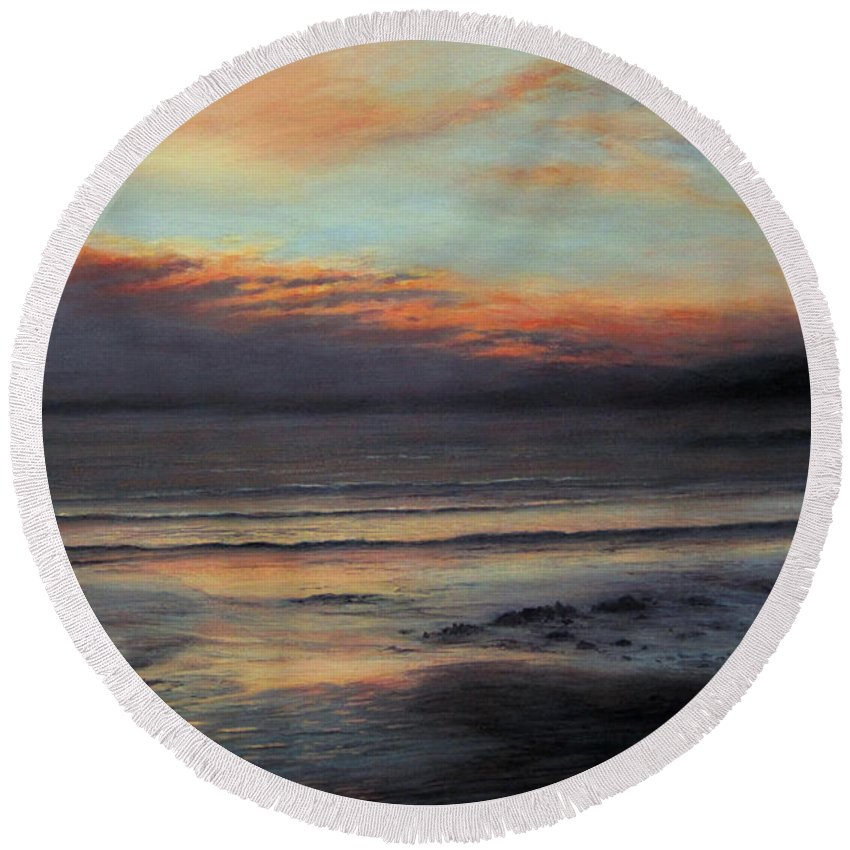 Sunset Painting Round Beach Towel featuring the painting Peace by Valerie Travers
