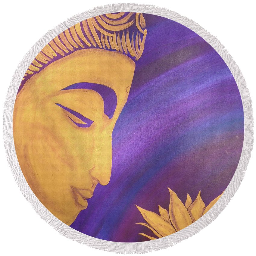 Buddha Round Beach Towel featuring the painting Peace Within Peace Without by Suni Moon
