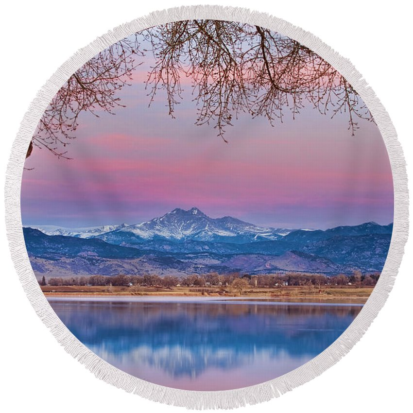 'boulder County' Round Beach Towel featuring the photograph Peaceful Early Morning First Light Longs Peak View by James BO Insogna