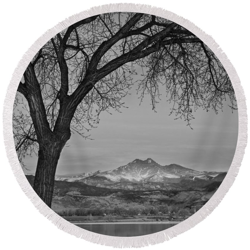 'boulder County' Round Beach Towel featuring the photograph Peaceful Early Morning Sunrise Longs Peak View Bw by James BO Insogna