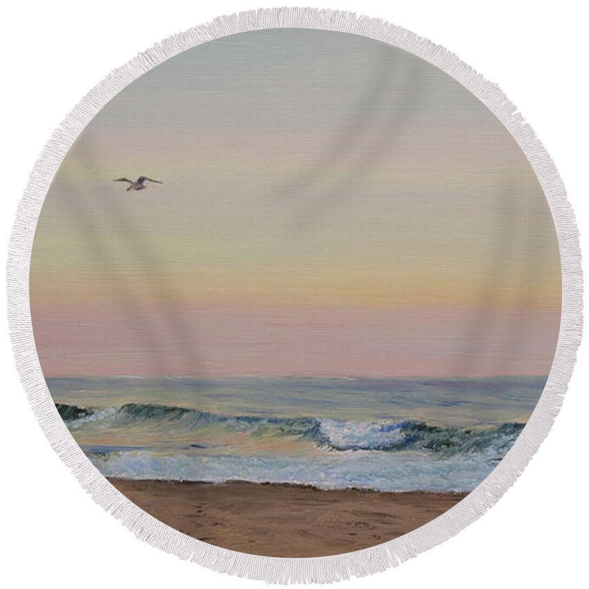 Seascape Round Beach Towel featuring the painting Peaceful Evening by Lea Novak
