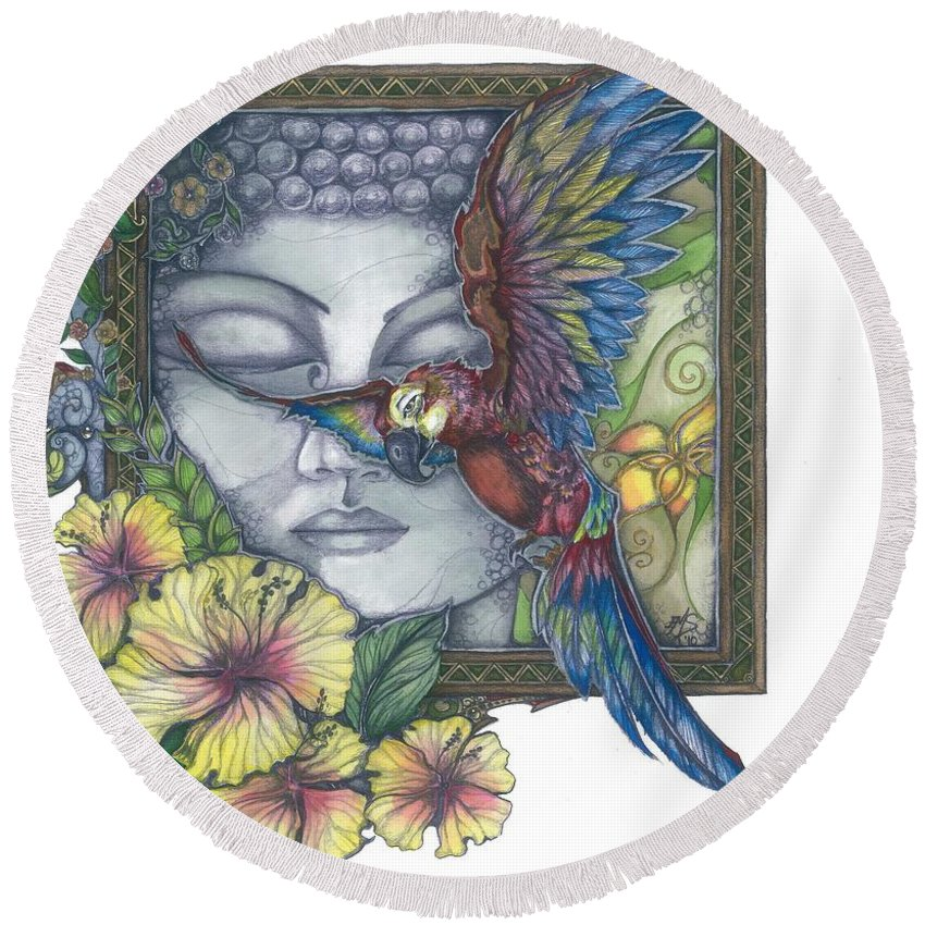 Parrot Round Beach Towel featuring the mixed media Peaceful Flight by Eileen King