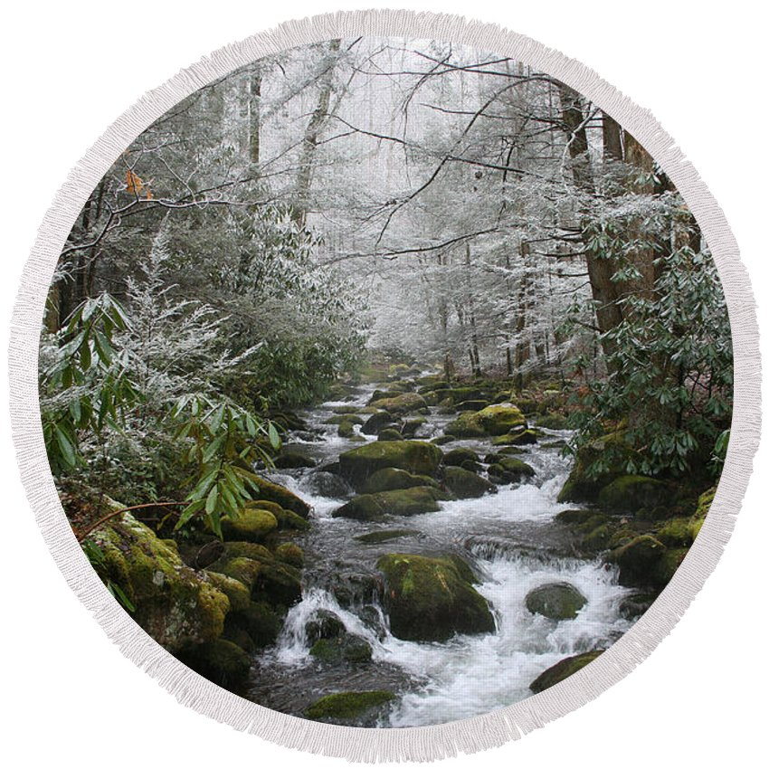 Forest Wood Woods Nature Green White Snow Winter Season Creek River Stream Flow Rock Tree Rush Round Beach Towel featuring the photograph Peaceful Flow by Andrei Shliakhau