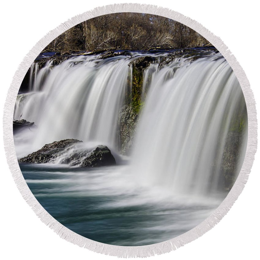 America Round Beach Towel featuring the photograph Peaceful Grand Falls by Jennifer White