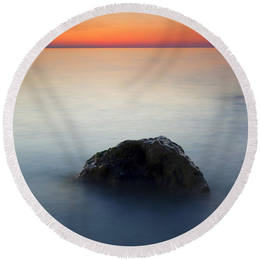 Rock Round Beach Towel featuring the photograph Peaceful Isolation by Mike Dawson